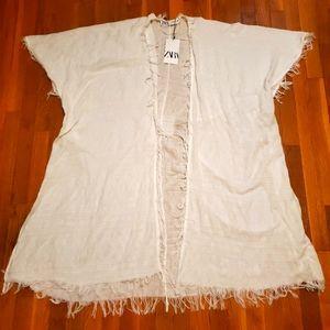 Zara white short sleeve Kimono/ Beach coverup
